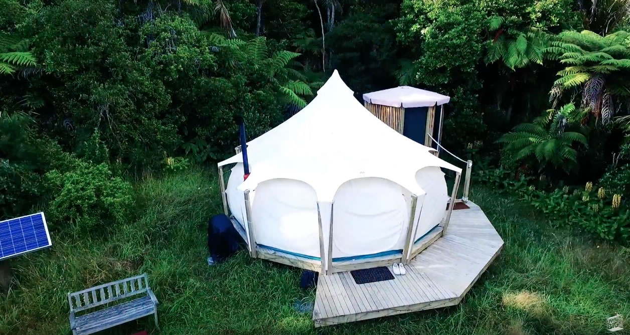 Exterior 2 - Bryce Shares Living in his Lotus Belle Tent