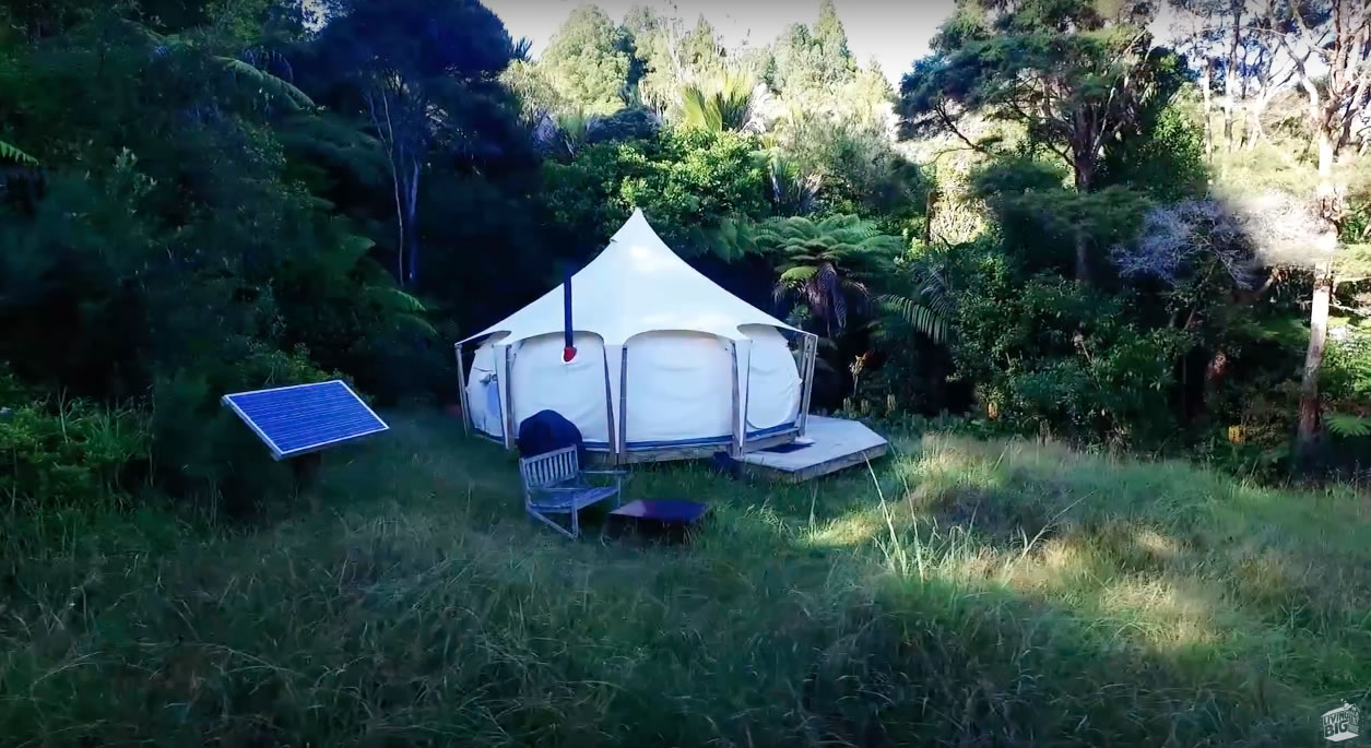 Exterior - Bryce Shares Living in his Lotus Belle Tent